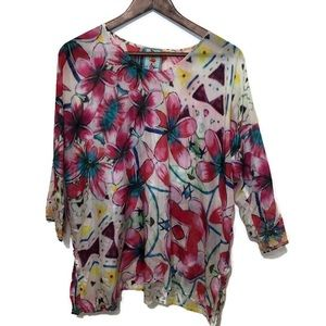 Johnny Was XS 100% silk top floral pink purple